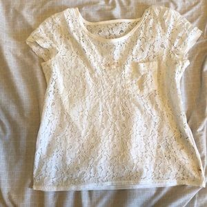 White lace short sleeve top